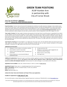 ACAP Humber Arm - Green Team Job